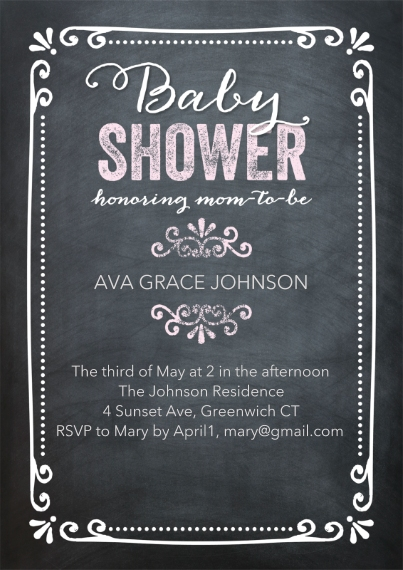 Baby Shower Invitations 5x7 Cards, Premium Cardstock 120lb with Elegant Corners, Card & Stationery -Baby ShowerChalkboard