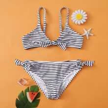 Bañador bikini de niñas con nudo de rayas