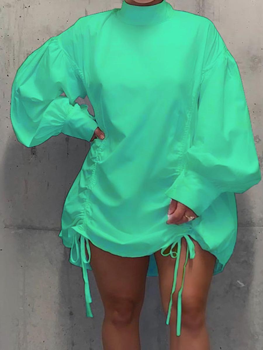 LW lovely Casual Half A Turtleneck Fold Design Green Mini Plus Size Dress
