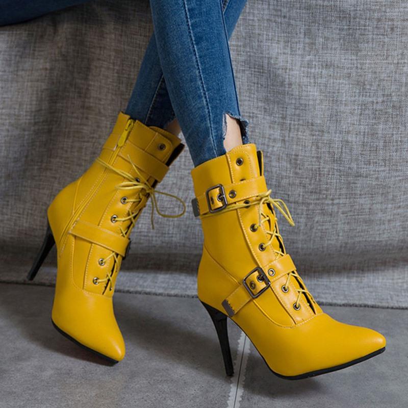 Ericdress Pointed Toe Side Zipper Stiletto Heel Western Boots