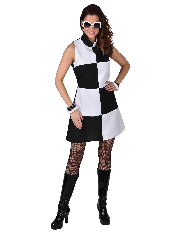 Damen-Kostuem 60er Jahre Kleid Damen schwarz/weiss XL Grosse: XL