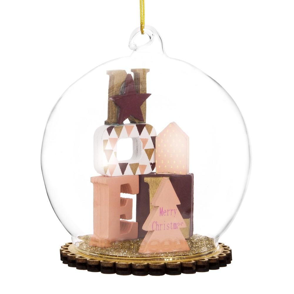 Weihnachtskugel aus Glas, Dekor aus Motivbuchstaben