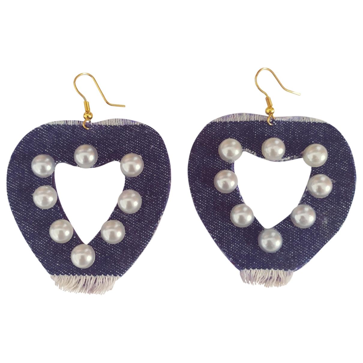 - Boucles doreilles Motifs Coeurs pour femme en toile - bleu