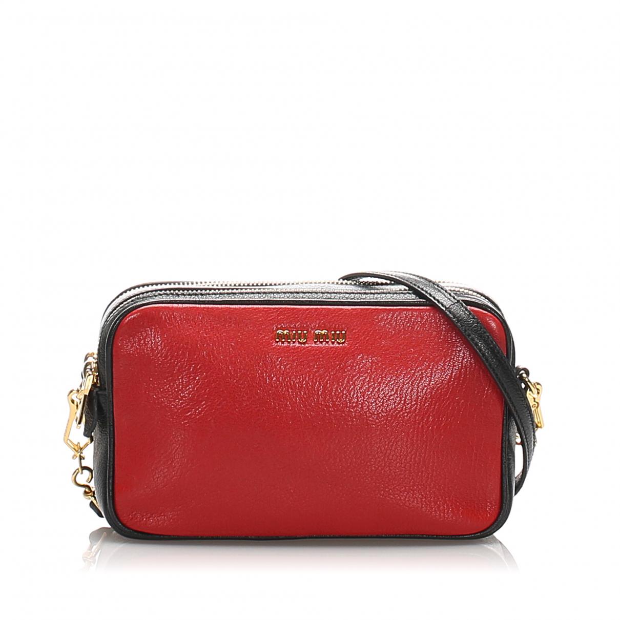 Miu Miu Madras Handtasche in  Rot Leder