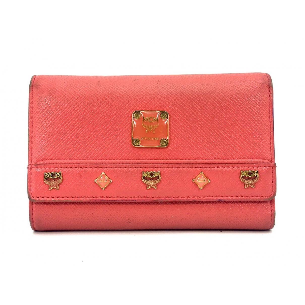 Mcm - Portefeuille   pour femme en toile - rouge