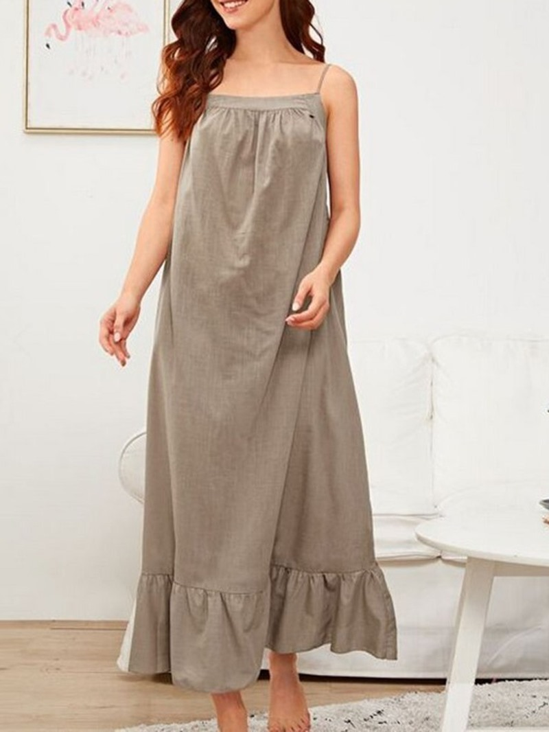 Ericdress Single Plain Spaghetti Strap Mid-Calf Nightgowns