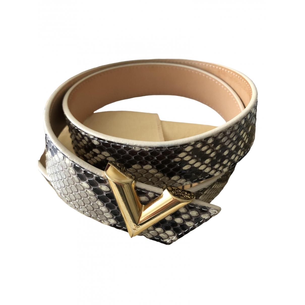 Louis Vuitton - Ceinture   pour femme en python - beige