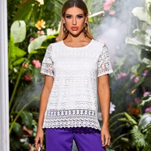 Guipure Lace Overlay Solid Blouse