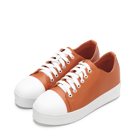 Yoins Orange Round Toe Lace Up Platform Sneakers