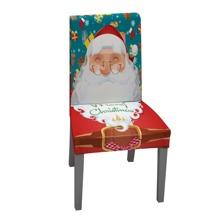 Dehnbarer Stuhlbezug mit Weihnachtsmann Muster