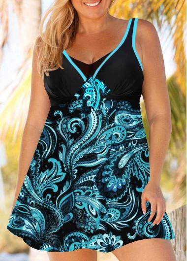 Plus Size Paisley Print Blue Swimdress and Panty - 0X