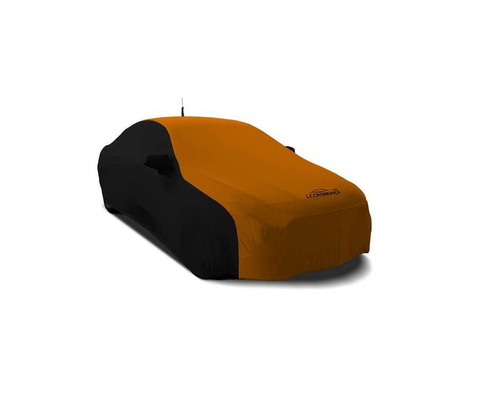 Coverking CVC3SS281LO9004 CVC3SS281 Coverking CVC3SS281LO9004 Satin Stretch 2-Tone Black Sides Garbber Orange Center Class 3 Custom Car Cover Lotus Ev