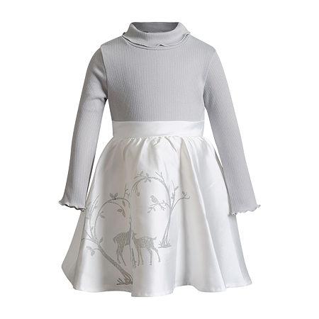Emily West Little Girls Long Sleeve Sweater Dress, 6x , Gray