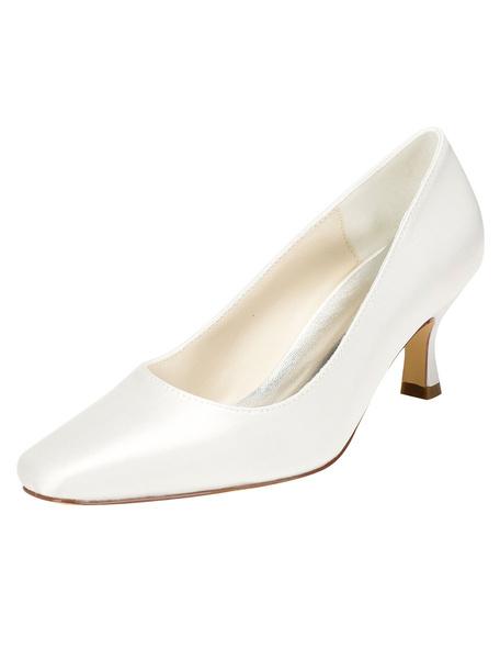 Milanoo Zapatos de novia de seda sintetica Zapatos de Fiesta de tacon de kitten Zapatos marfil  Zapatos de boda de puntera cuadrada 5.5cm sencilla