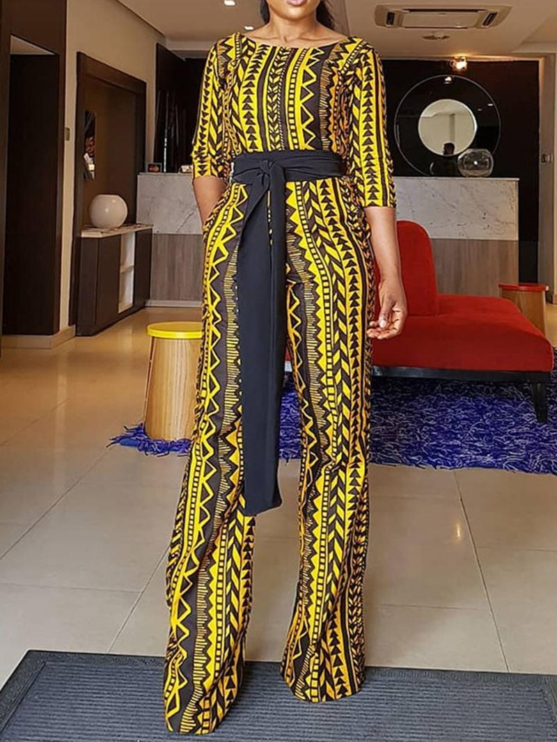 Ericdress Casual Full Length Color Block High Waist Slim Jumpsuit