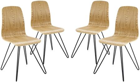 Drift Collection EEI-3379-NAT Set of 4 Side Chairs with Matte Powder Coated Steel Legs  Mid-Century Style  Non-Marking Foot Caps and Painted
