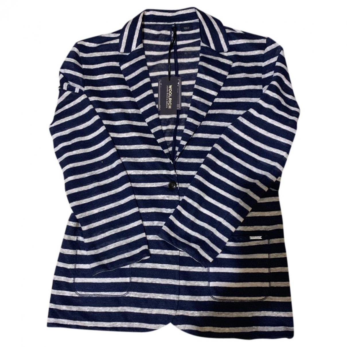 Woolrich - Veste   pour femme en lin - bleu