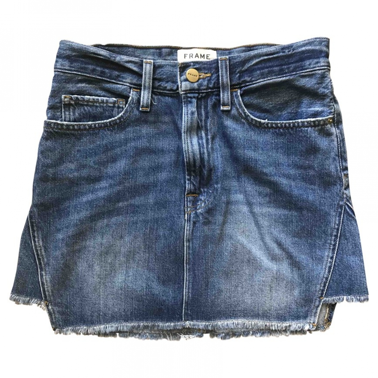 Frame Denim \N Blue Denim - Jeans skirt for Women XS International