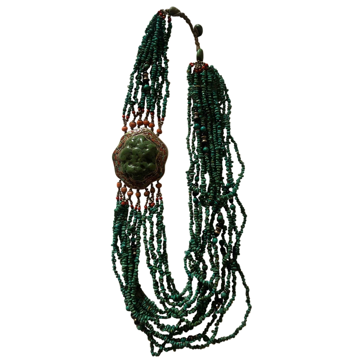 Non Signé / Unsigned Motifs Ethniques Turquoise Metal necklace for Women \N