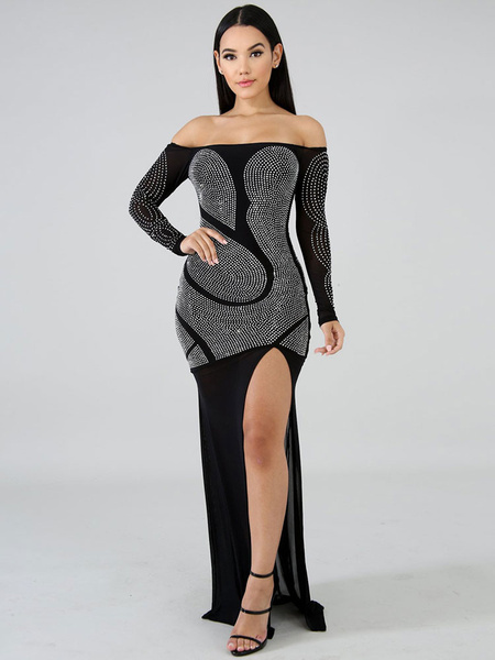 Milanoo Sexy Club Dress Long Sleeve Rhinestones Off The Shoulder Maxi Dress