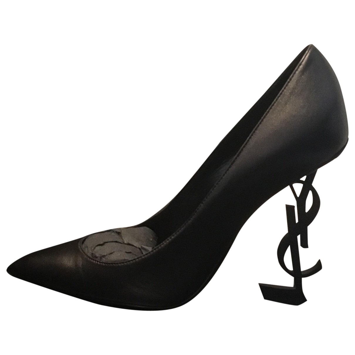 Saint Laurent Opyum Black Leather Heels for Women 39 EU