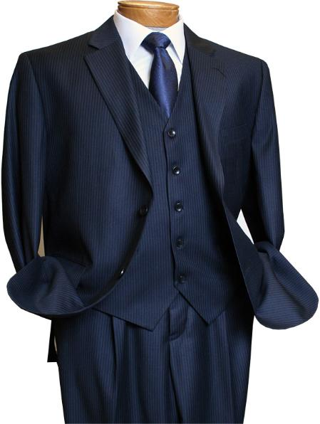 Mens 3 Piece Navy Pinstripe Italian Design Suit