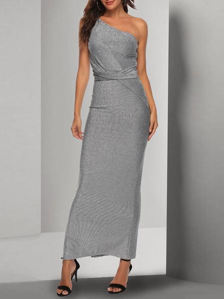 Milanoo Maxi Dress Sleeveless Silver One-Shoulder Backless Nylon Floor Length Dress
