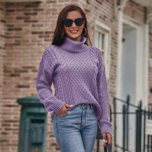Strick Pullover mit hohem Kragen und Zopf Muster