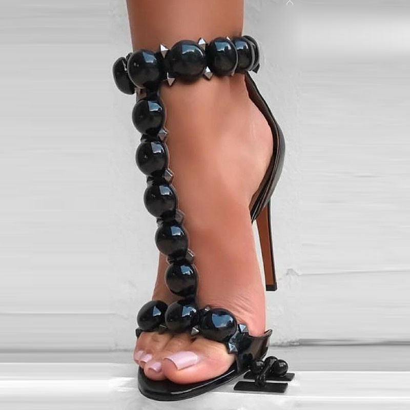 Ericdress Bead Rivet Zipper Heel Women's Prom Shoes