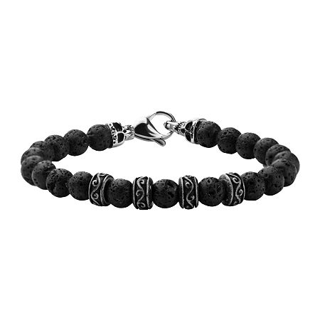 Inox Jewelry Mens Black Lava Stone & Stainless Steel Bead Bracelet, One Size , No Color Family