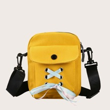 Lace-up Front Flap Crossbody Bag