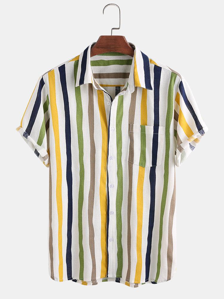 Men Linen Lightweight Breathable Color Striped Short Sleeve Shirt