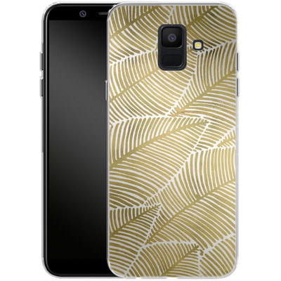 Samsung Galaxy A6 Silikon Handyhuelle - Tropical Leaves Gold von Cat Coquillette