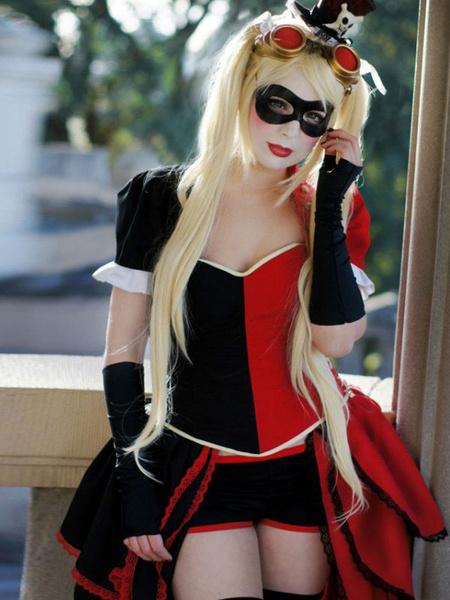 Milanoo  Batman Arkham Asylum Harley Quinn cosplay costume Halloween