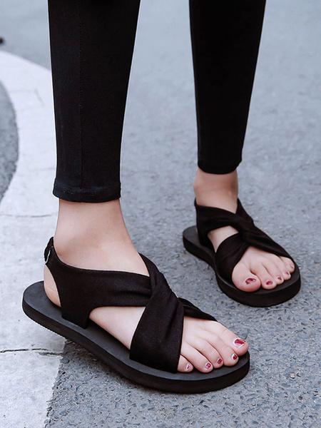 Milanoo Sandalias planas para mujer Sandalias de playa negras cruzadas con punta abierta Zapato de playa
