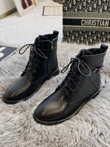 Lace-up Front Chunky Heel Ankle Boots