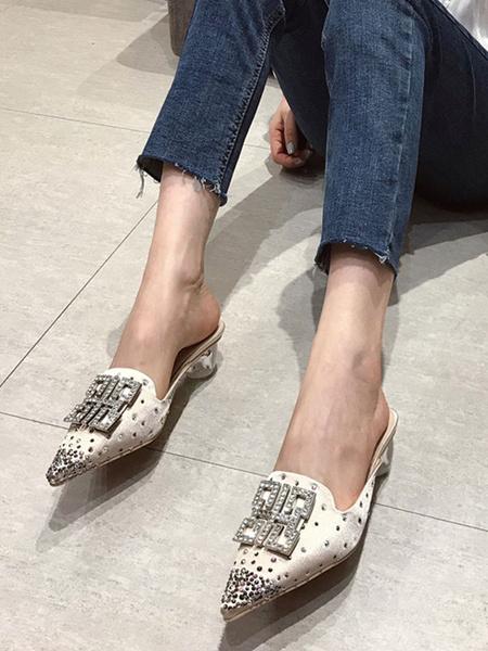 Milanoo Zapatos mula para mujer Sandalias con punta de diamantes de imitacion rosa Mulas sin respaldo