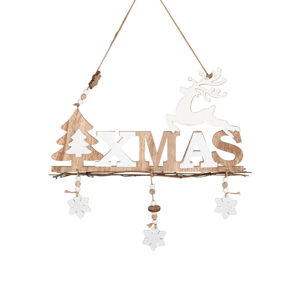 Weihnachtliche Haengedeko, weiss und naturfarben