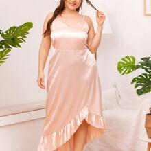 Plus Asymmetrical Ruffle Hem Satin Cami Night Dress