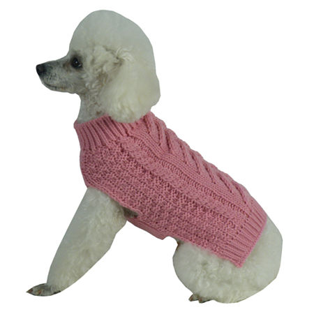 The Pet Life Swivel-Swirl Heavy Cable Knitted Fashion Designer Dog Sweater, One Size , Pink