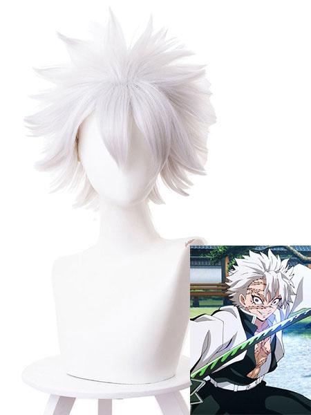 Milanoo Demon Slayer: Kimetsu No Yaiba Cosplay Wig Shinazugawa Sanemi Short Cosplay Wig