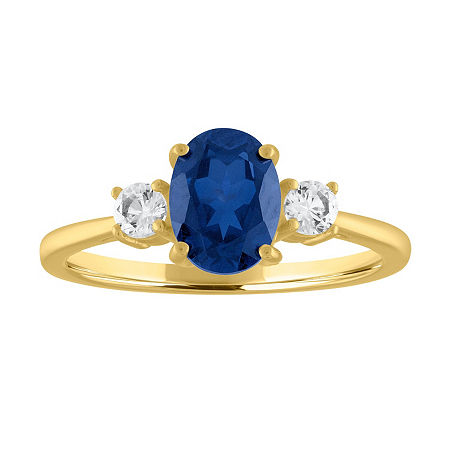 Womens Lab Created Blue Sapphire 10K Gold Cocktail Ring, 9 , No Color Family