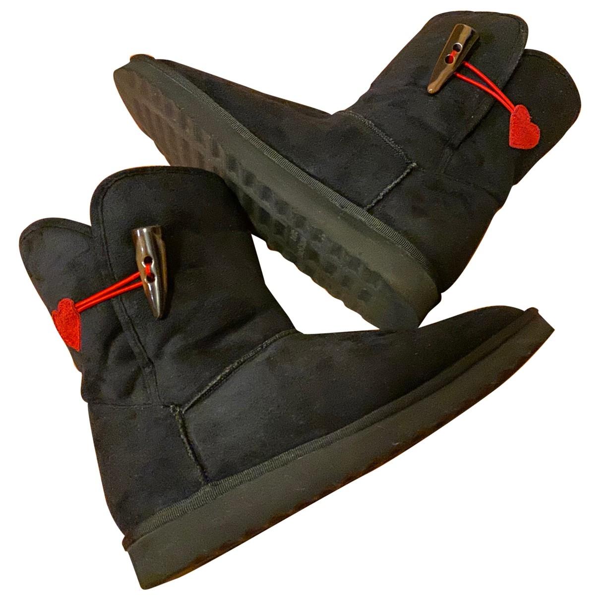 Moschino Love - Boots   pour femme en toile - noir