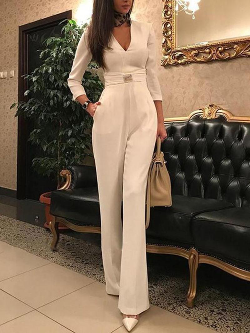 Ericdress Plain Office Lady Full Length Slim Jumpsuit