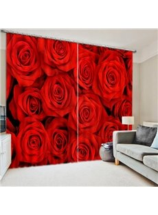 Decorative Romantic Heavy Red Roses Printed 3D Custom Living Room Curtain