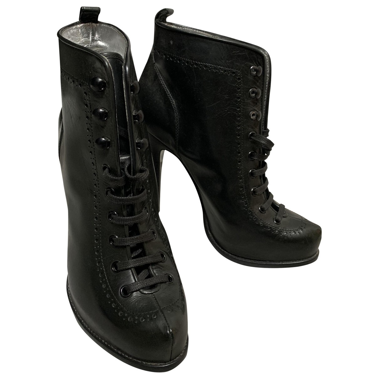 Dsquared2 \N Black Leather Ankle boots for Women 40 EU