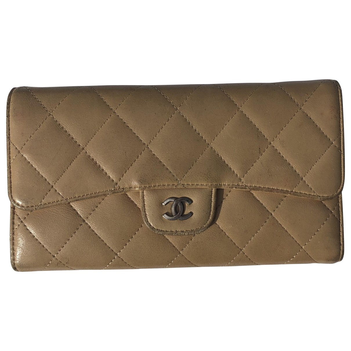 Chanel - Portefeuille Timeless/Classique pour femme en cuir - beige