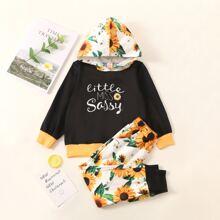 Hoodie mit Buchstaben & Sonnenblumen Muster & Jogginghose