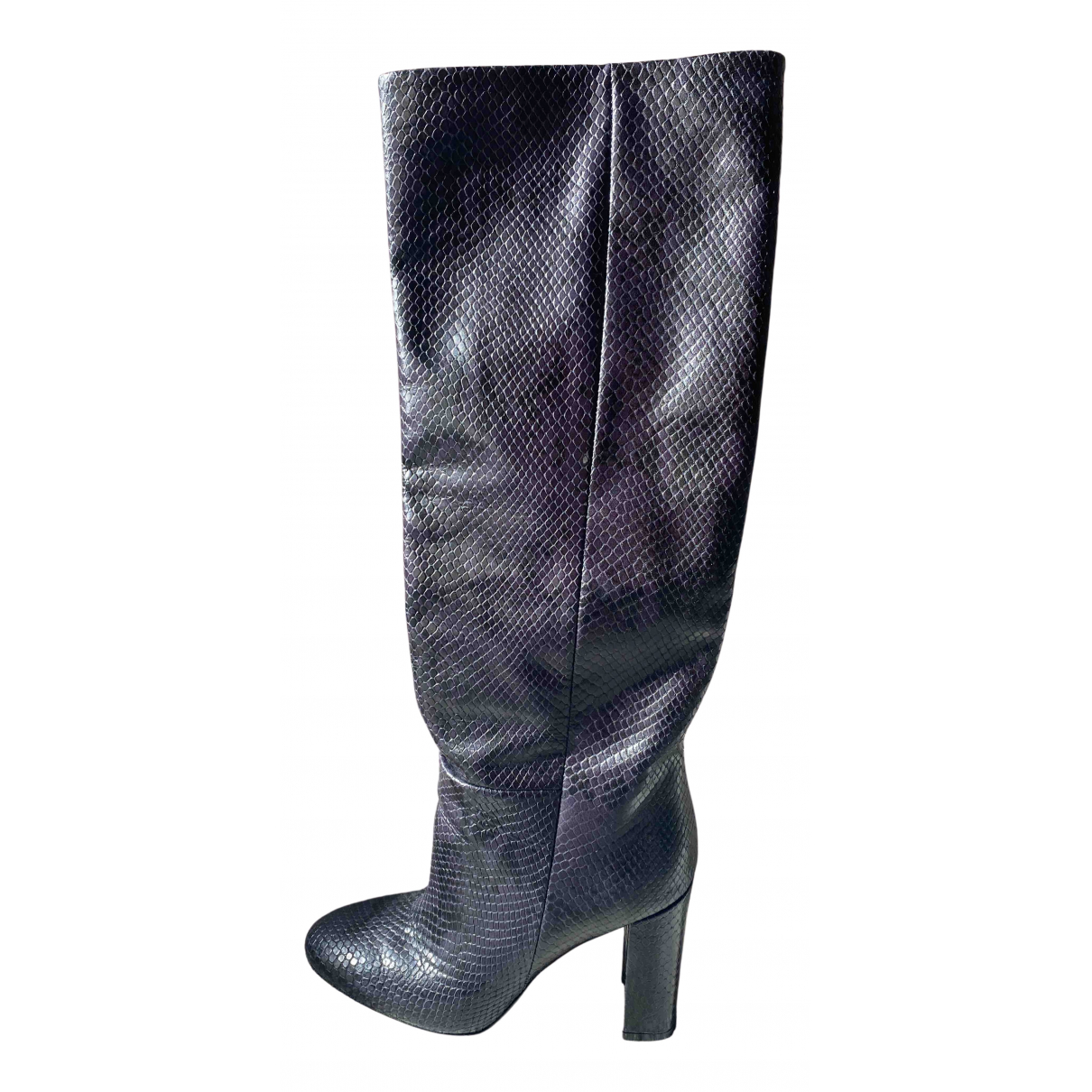 Twin Set N Anthracite Leather Boots for Women 38 IT