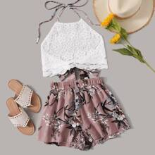Guipure Lace Tie Back Halter Top & Floral Print Shorts